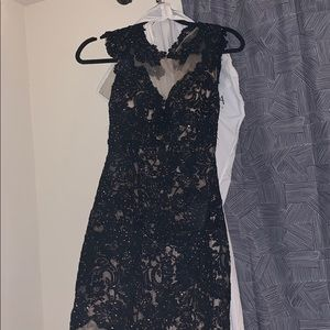 Dave & Johnny black and nude sheer prom dress
